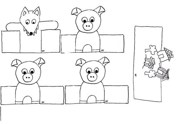 Activites marionnettes - Dessin 3 petit cochon ...